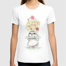 Le Sloth LARGE White Womens Fitted Tee