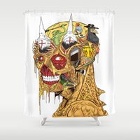 medieval Shower Curtains featuring Medieval Head by Theo Szczepanski
