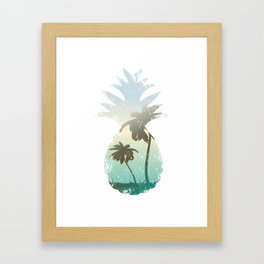 Pineapple Palm Tree Sunset Beach Vacation Gift Framed Art Print