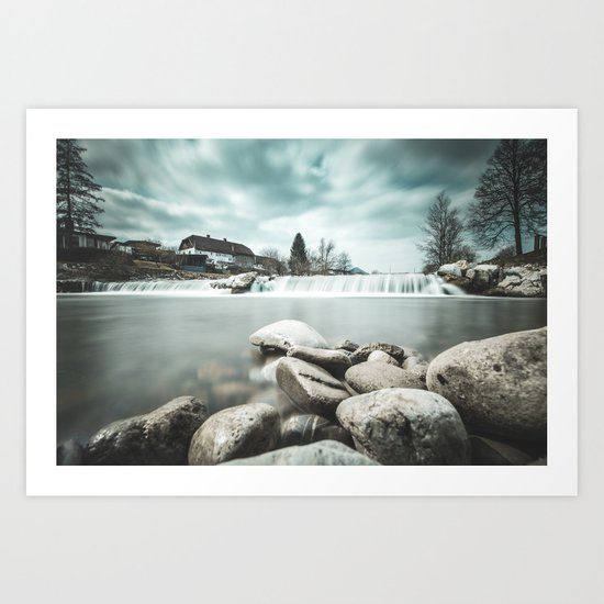 Waterfall on Sora river, Medvode Art Print