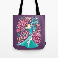 risa rodil Tote Bags featuring Snow Queen by Risa Rodil