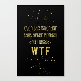 Text Art Gold EVEN THE CALENDAR SAYS WTF Canvas Print