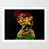 rasta Art Prints featuring Rasta Lady by Lonica Photography & Poly Designs