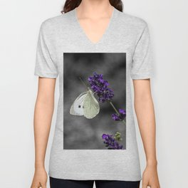 Cabbage butterfly on lavender, monochromatic bokeh background Unisex V-Neck