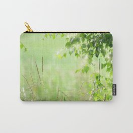 Birch leaves with Green Grass Carry-All Pouch