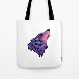 Spotted Wolf Head in Pink and Purple Tote Bag