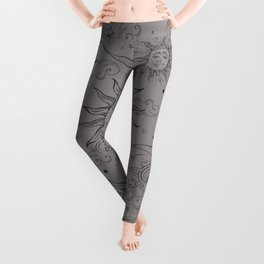 Grey Magic Celestial Sun Moon Stars Leggings