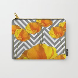 YELLOW CALIFORNIA POPPIES MODERN GREY PATTERNS Carry-All Pouch