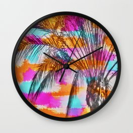 palm tree with colorful painting abstract background in pink orange blue Wall Clock