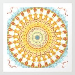 Gold Teal Boho Mandala Art Print