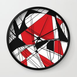 Colorblock Red Wall Clock