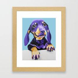 Dachshund Portrait in Blue Framed Art Print
