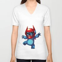 lilo and stitch V-neck T-shirts featuring Stitch by WTFmoments