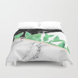 Modern tropical palm tree black white marble color block pastel blush pink Duvet Cover