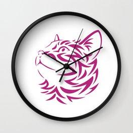 Looking Left Cat Kitten Face Stencil Wall Clock