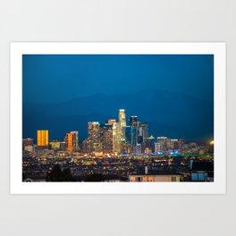 Downtown Los Angeles Skyline at Night Art Print