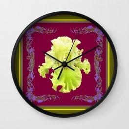 Yellow Frilly Iris  Burgundy-Moss Green Design Art Wall Clock
