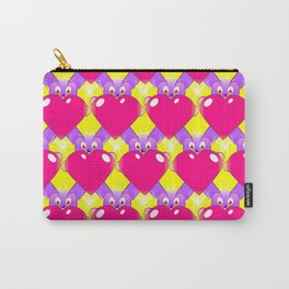 Hot Pink Hearts and Teddy Bears Carry-All Pouch