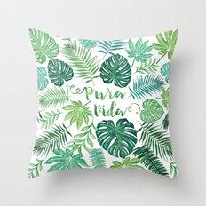 Tropical Pura Vida Palm Leaves and Monstera Watercolor Throw Pillow