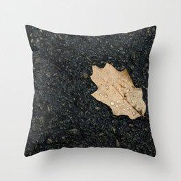 Autumn Leaf With Raindrops Throw Pillow