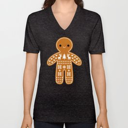 SWEATER PATTERN GINGERBREAD COOKIE Unisex V-Neck