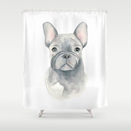 Gray Blue French Bulldog Shower Curtain