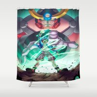 gurren lagann Shower Curtains featuring Gurren Lagann - This Drill will pierce the Heavens by Brian Hollins art