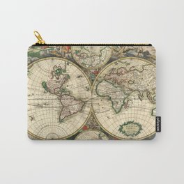 Old map of world hemispheres. Created by Frederick De Wit, published in Amsterdam, 1668 Carry-All Pouch