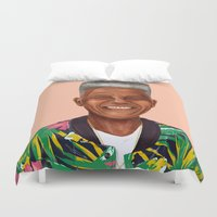 mandela Duvet Covers featuring Hipstory - Nelson Mandela by Amit Shimoni