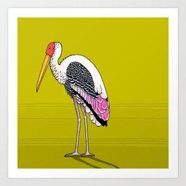 Painted Crane Art Print