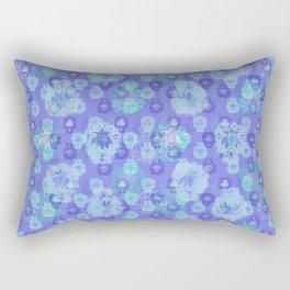 Lotus flower - pool blue woodblock print style pattern Rectangular Pillow