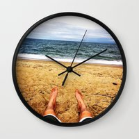 north carolina Wall Clocks featuring North Carolina  by ErikMcManusInc.