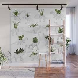 Dino and Cacti on White Wall Mural