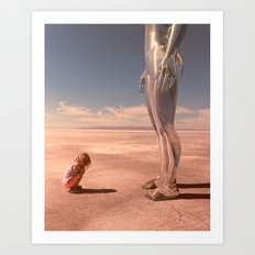 Chloe meets a giant but no one will believe her. Art Print