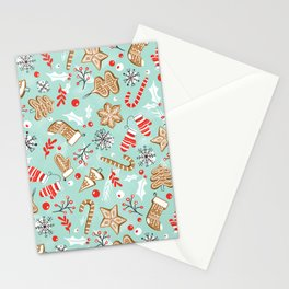 Gingerbread Dreams - Aqua Stationery Cards