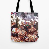 crystals Tote Bags featuring Crystals by Collage Heaven