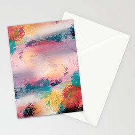 Modern Colorful Brush Strokes Paint Abstract Art Stationery Cards