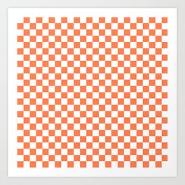 Living Coral Color Checkerboard Art Print