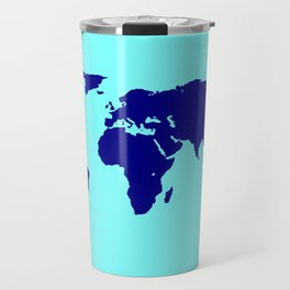 World Silhouette In Blue Travel Mug
