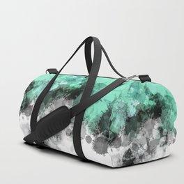 Mint Green Paint Splatter Abstract Duffle Bag