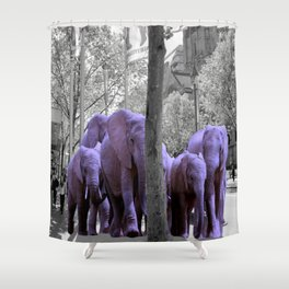 Purple guests Shower Curtain