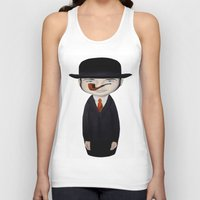 magritte Tank Tops featuring omaggio a Magritte by beatrice alegiani