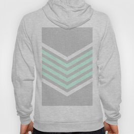 Mint & White Arrows Over Grey Stripes Hoody