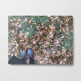 elf feet in leaves Metal Print