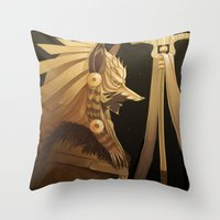 black and gold Throw Pillows featuring Black & Gold by Cruz'n Creations