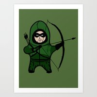 green arrow Art Prints featuring Green Arrow by YiannisTees