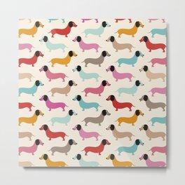 Sweet retro dachshund doxie puppy pattern Metal Print