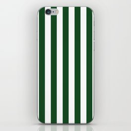 Large Forest Green and White Rustic Vertical Beach Stripes iPhone Skin