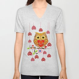 Valentine's day owl with hearts Unisex V-Neck