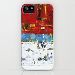 Folly Bright Red White Modern Art Abstract Painting iPhone Case